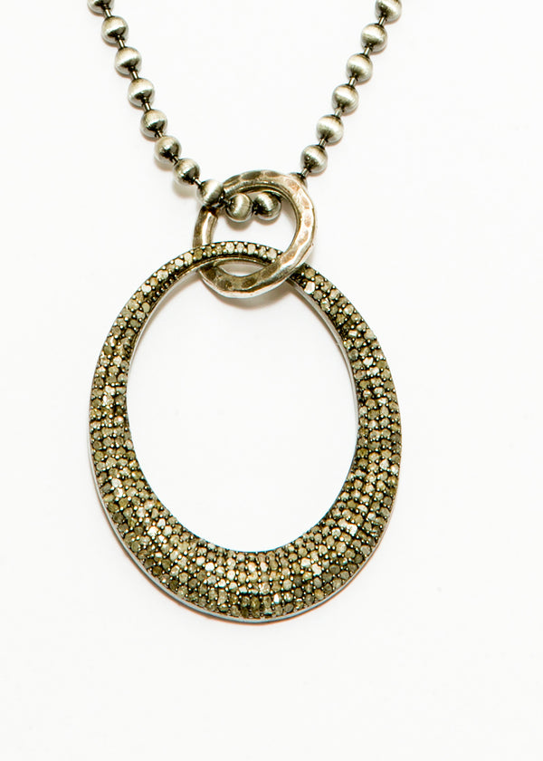 Pave Diamond Oval Pendant on Sterling Ball Chain #6080-Necklaces-Gretchen Ventura