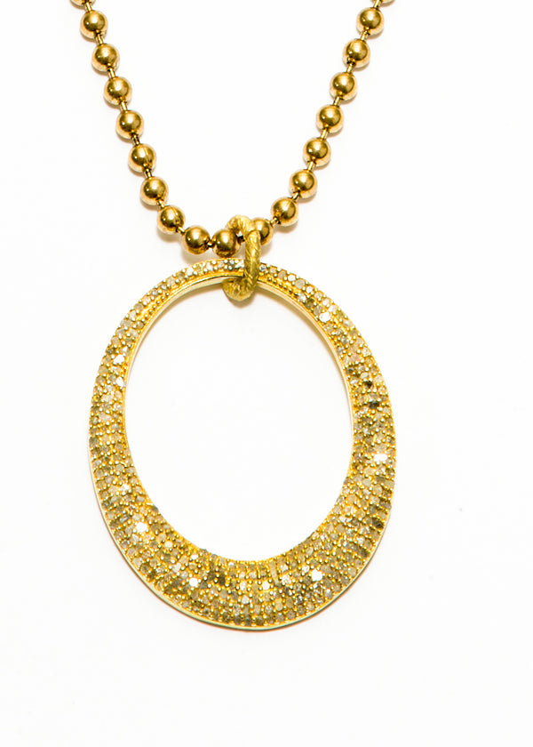 Gold Plate over Sterling Pave' Diamond Oval Pendant on Gold Plate Ball Chain #6084-Necklaces-Gretchen Ventura