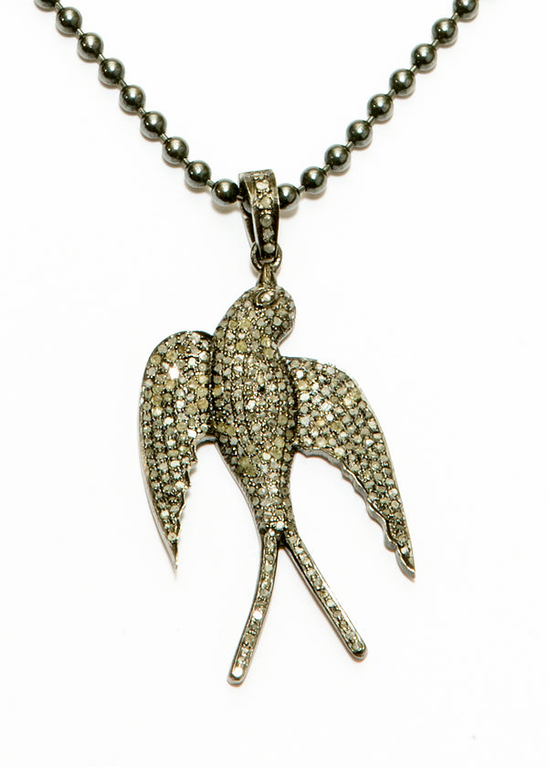 Sterling & Pave Diamond Dove Pendant on Blackened Sterling Ball Chain 6070-Necklaces-Gretchen Ventura