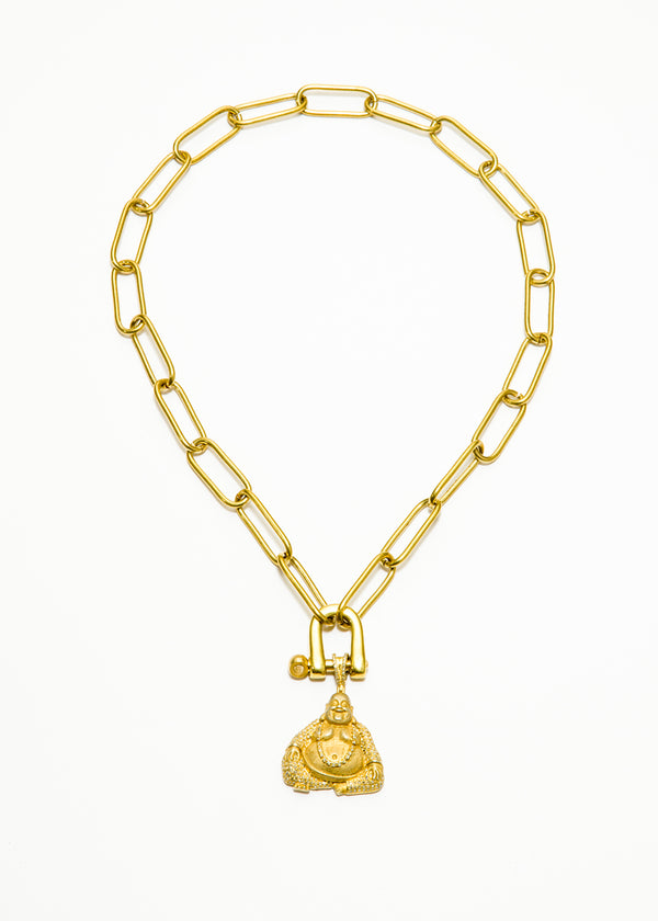 Gold Plate Link Chain & carabiner w/ Matte GP over Sterling Diamond Encrusted Buddha #6041-Necklace-Gretchen Ventura