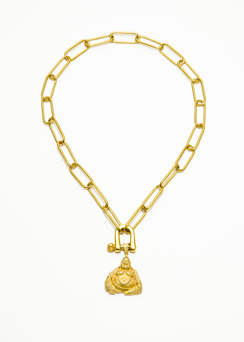 Gold Plate Link Chain & carabiner w/ Matte GP over Sterling Diamond Encrusted Buddha #6041-Necklaces-Gretchen Ventura