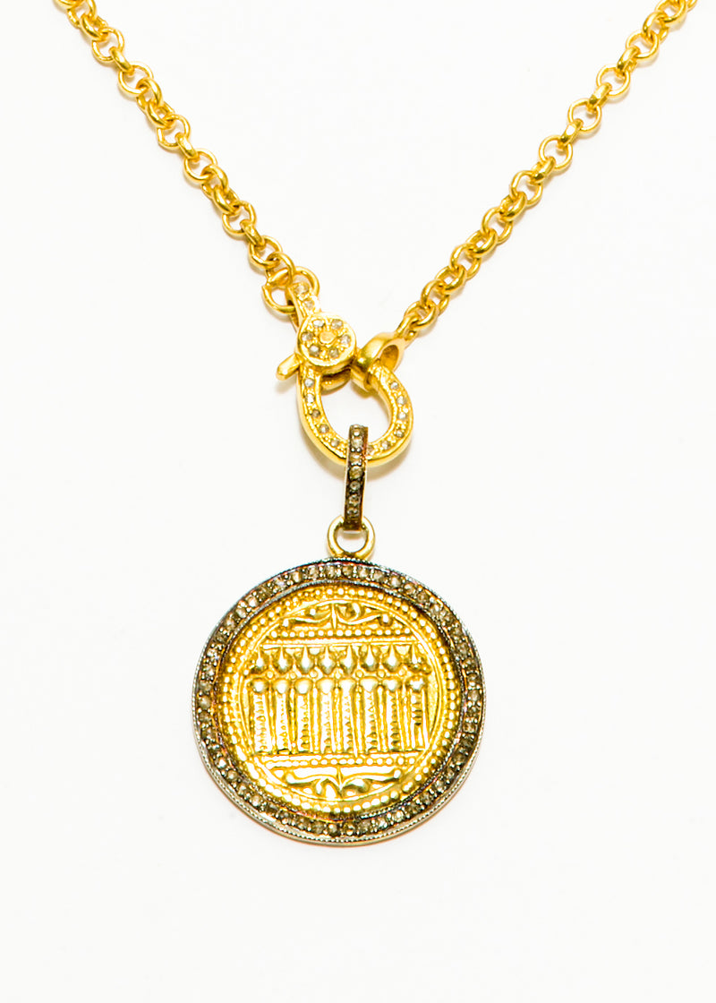 Diamond Pave & Gold Plate Sacred Protection Pendant w/ Gold Plate over Sterling Chain #6204-Necklaces-Gretchen Ventura