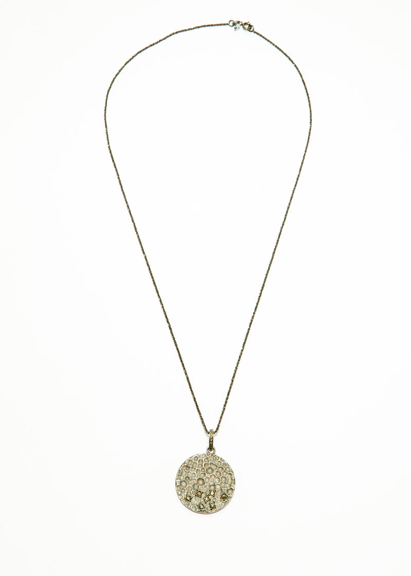 Faceted Natural Pyrite w/ Matte, Hammered Sterling & Champagne Diamond Round Pendant #10053-Necklaces-Gretchen Ventura