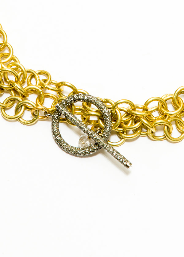 Gold Plate Link Chain w/ Diamond Toggle #6054-Necklaces-Gretchen Ventura