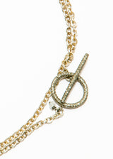 Pave Diamond Oval Pendant on Oxidized Chain #6083-Necklaces-Gretchen Ventura