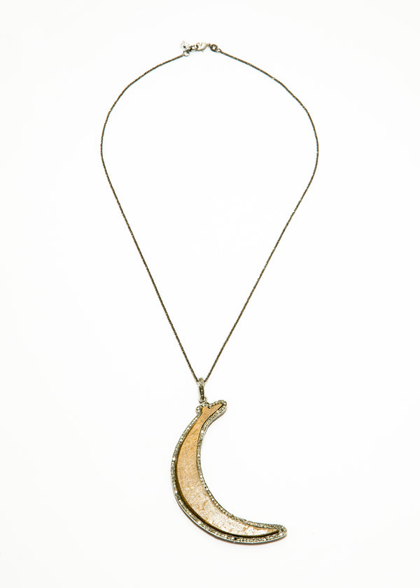 "Diamond Encrusted Wood Moon w/ Rhodium plate over Sterling Chain (20""+3.5"")-Necklace-Gretchen Ventura"