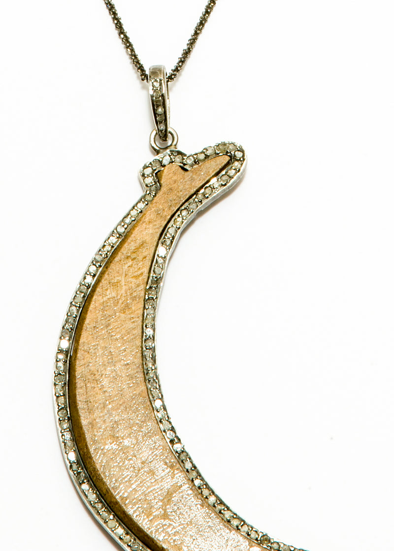 Diamond Encrusted Wood Moon w/ Rhodium plate over Sterling Chain #6078-Necklaces-Gretchen Ventura