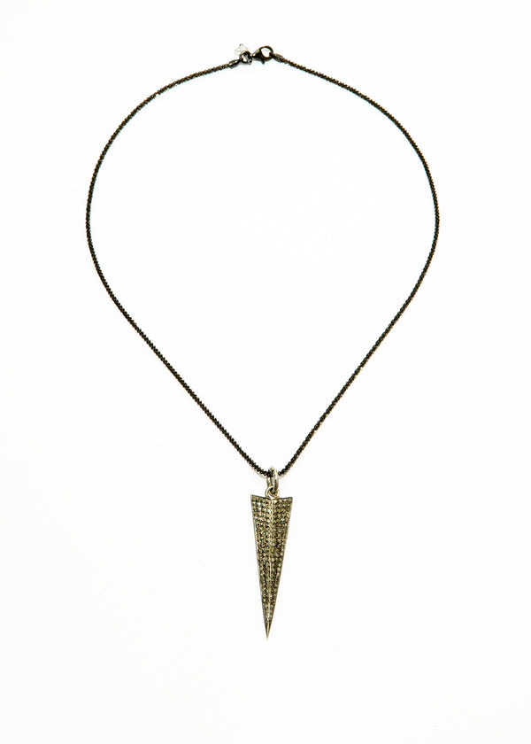 Diamond Pave Arrowhead pendent on Rhodium Plate over Sterling Chain #6072-Necklaces-Gretchen Ventura