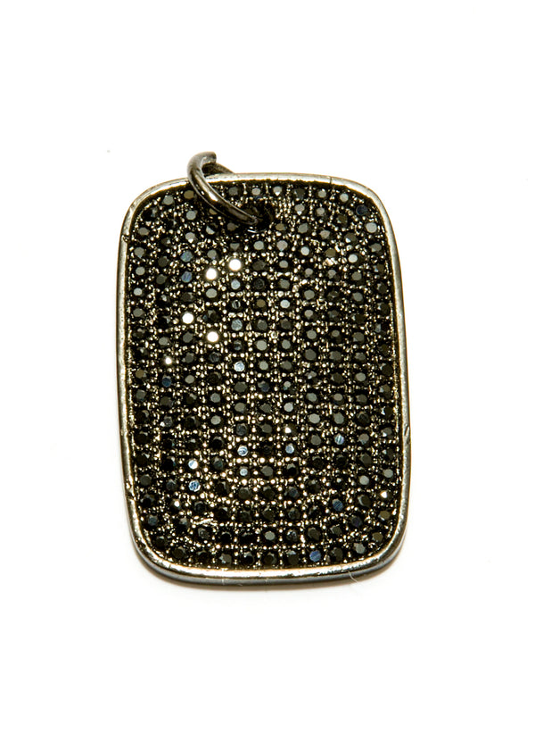 Black CZ Dog Tag Pendant on Rhodium Plated Sterling Chain 6055-Necklaces-Gretchen Ventura