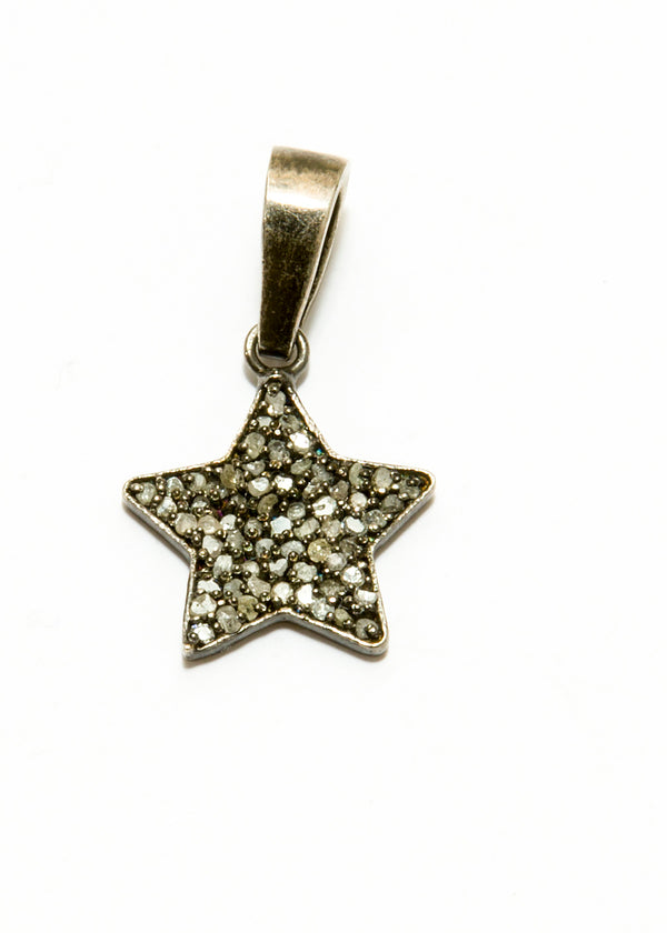 Rhodium plated Sterling Chain w/ Diamond Star Pendant 6062-Necklaces-Gretchen Ventura