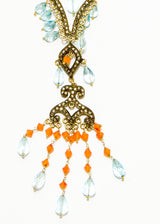 Carnelian, Diamonds, Faceted Blue Topaz Pendant on 14K Gold & Rhodium Sterling Chain #9396-Necklaces-Gretchen Ventura