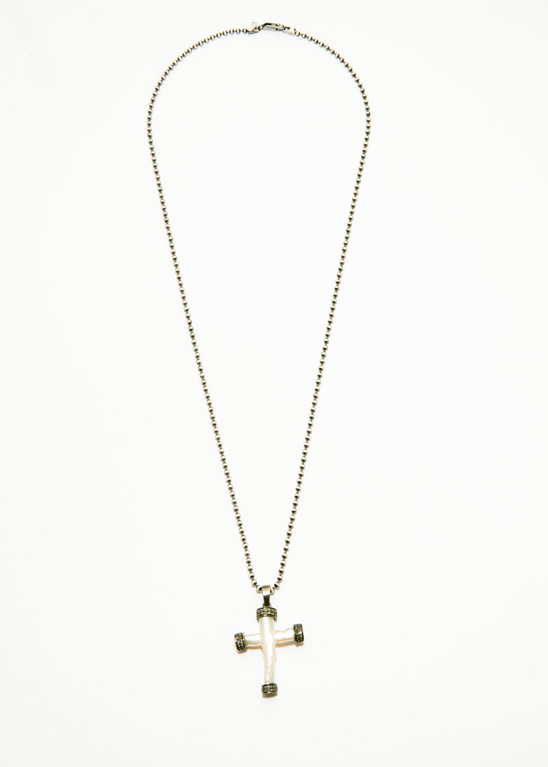 Fresh Water Pearl & Diamond Cross Pendant w/ Rhodium Plated Sterling Chain 6063-Necklaces-Gretchen Ventura