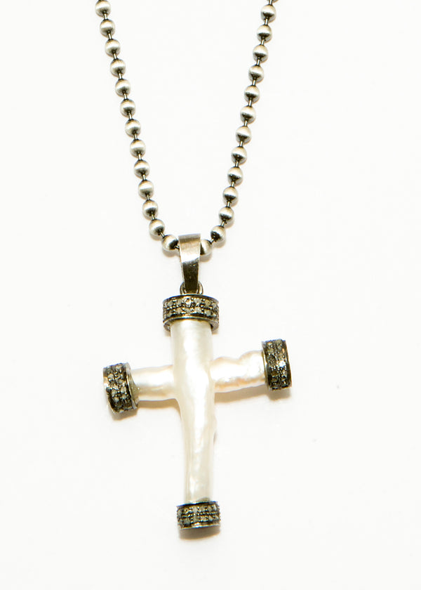 "Fresh Water Pearl & Diamond Cross Pendant w/ Rhodium Plated Sterling Chain (19""+2"")-Necklace-Gretchen Ventura"