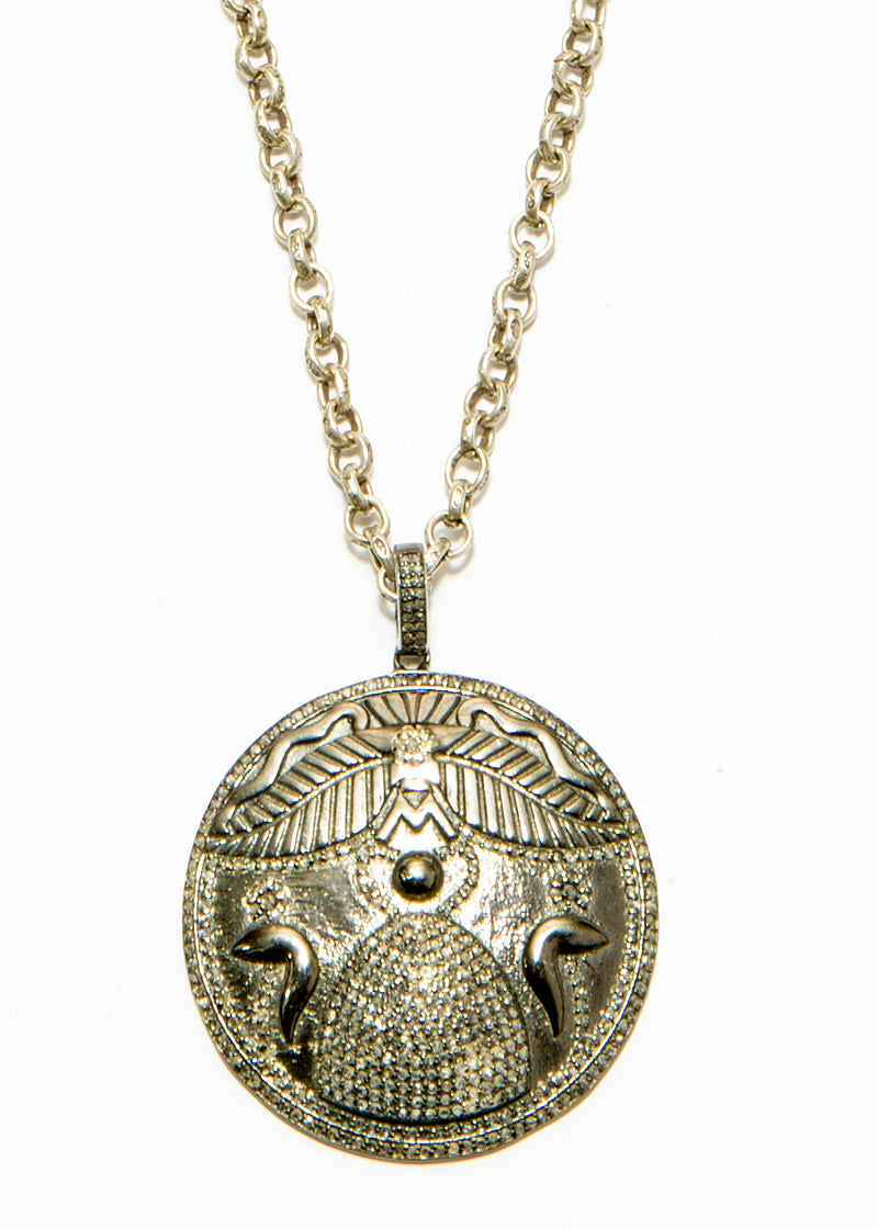 Diamond & Blackened Sterling Silver Egyptian Ancient Symbol w/ Vintage Sterling Chain #4501-Necklaces-Gretchen Ventura