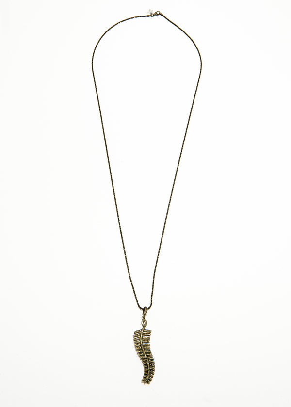 "Diamond Pave Feather pendent on Rhodium Plate over Sterling Chain (30""+2"")-Necklace-Gretchen Ventura"