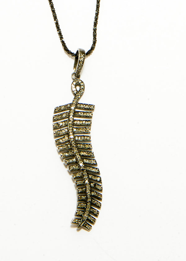 Diamond Pave Feather pendent on Rhodium Plate over Sterling Chain #6073-Necklaces-Gretchen Ventura