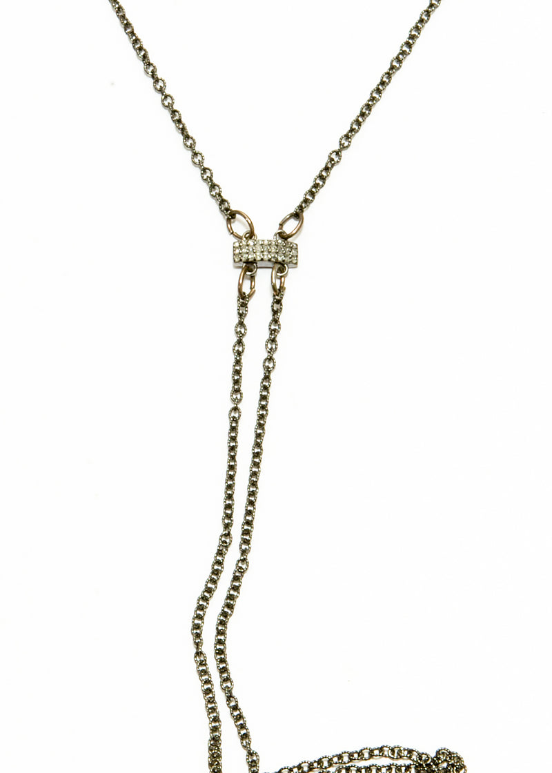 Blackened Sterling or Gold Plate over Sterling Chain & Pave Diamond Lariat #6069-Necklaces-Gretchen Ventura
