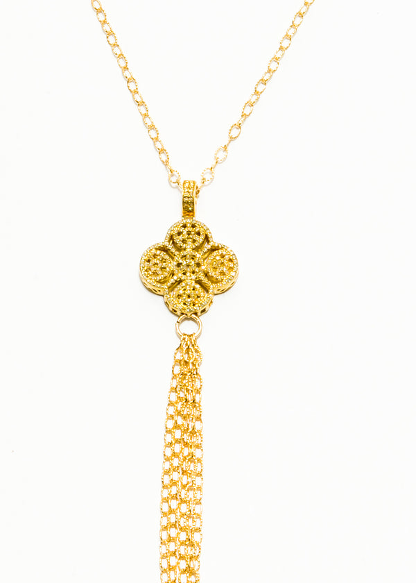 Gold Plate over Sterling & Diamond Clover W/ Gold Plate over Sterling Chain 6067-Necklaces-Gretchen Ventura