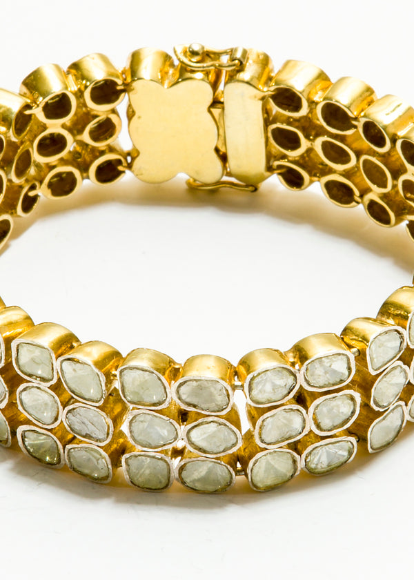3 Rows Rose Cut Diamond (10.44 C) In Gold Plate Over Sterling Bracelet #2837-Bracelets-Gretchen Ventura
