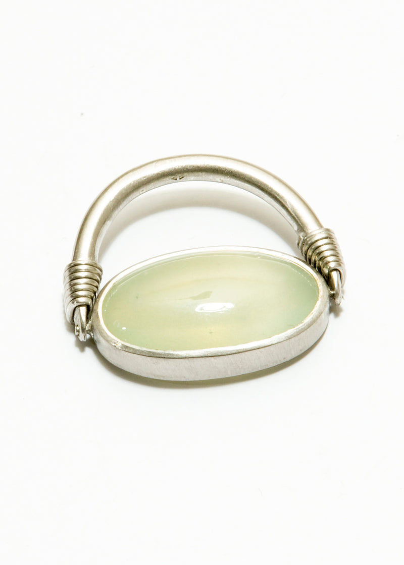 Moonstone Cabachon in Matte SS. (15.5C) Ring #5027-Rings-Gretchen Ventura