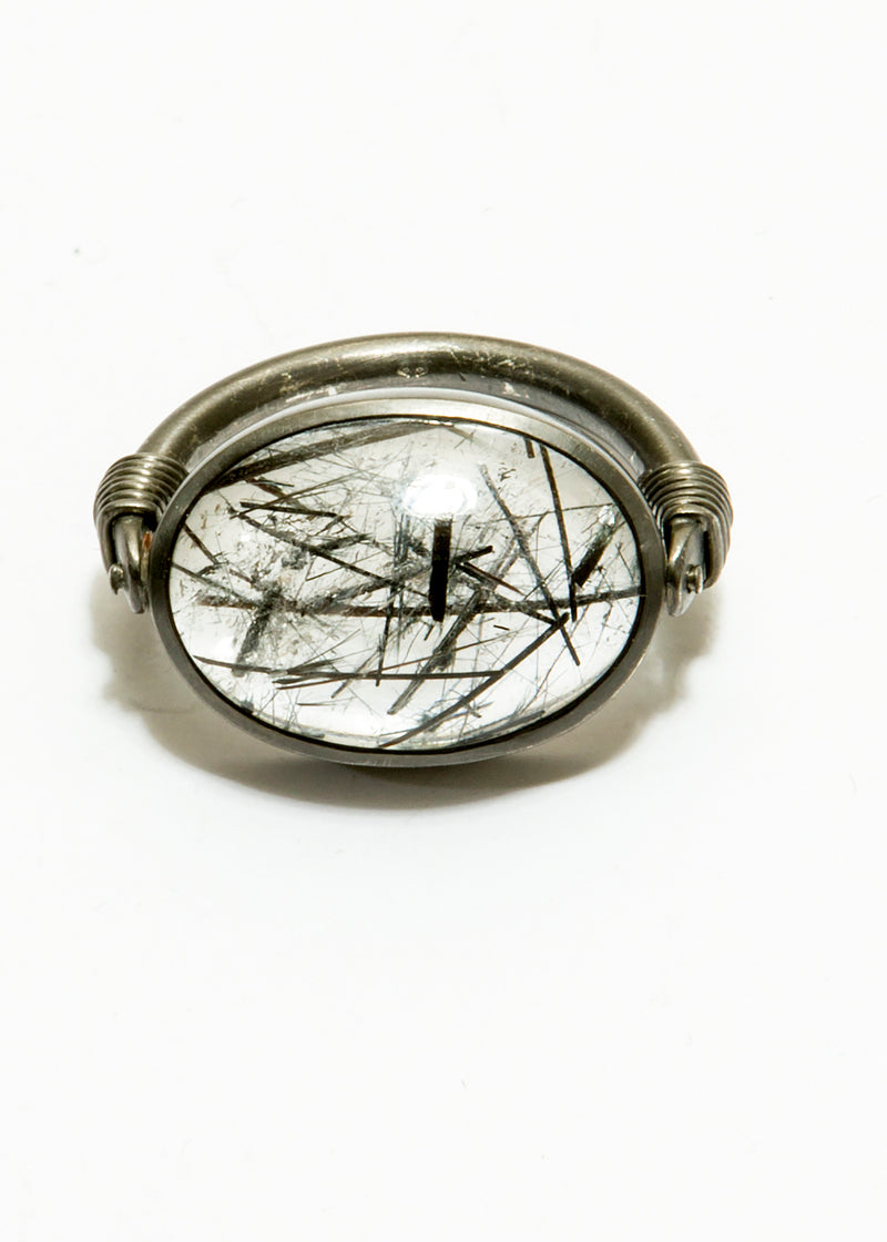 Black Rutilalated Quartz Cabachon in Matte Rhodium Plated Sterling Ring #5026-Rings-Gretchen Ventura