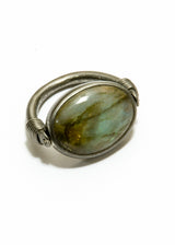Labadorite Cabachon in Rhodium Plated Sterling Flip Ring #5028-Rings-Gretchen Ventura