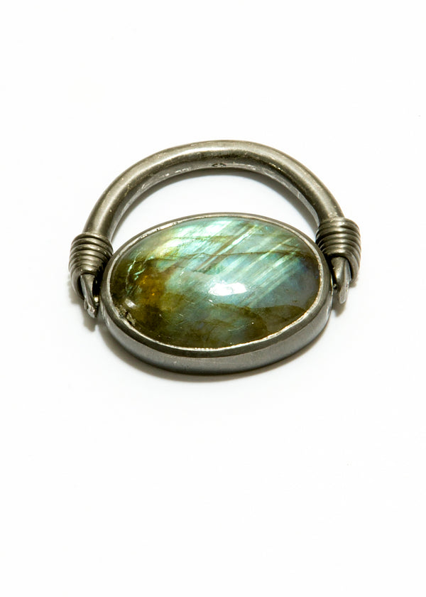 Labadorite Cabachon in Rhodium Plated Sterling Flip Ring (16.99C)-Rings-Gretchen Ventura