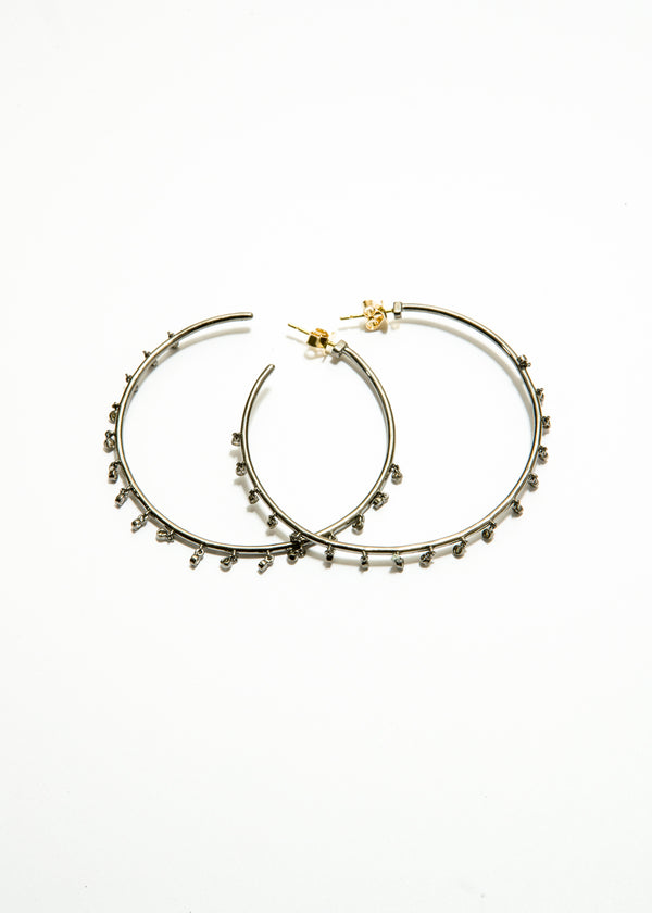 Sterling Silver Hoop Earrings w/ Diamond Drops & 14K Gold Posts #3479-Earrings-Gretchen Ventura