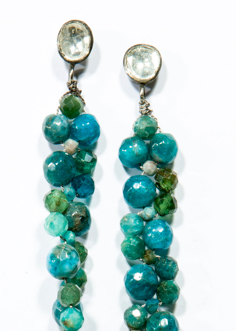 Faceted Apatite Macramé earrings w/ Rose cut Diamond Posts #3460-Earrings-Gretchen Ventura
