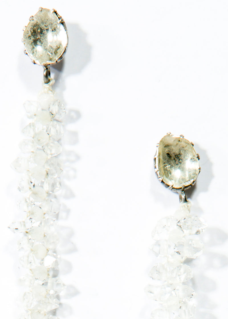 "Herkimer Diamond & Faceted Moonstone Macramé Earring on Rose cut Diamond Posts ( 5.5"") #3461-Earrings-Gretchen Ventura"