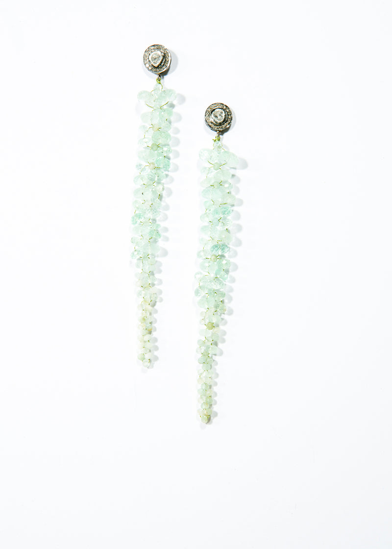 Faceted Beryl & Aqua Marine Macrame Drop Earring w/ 14K Gold Rose cut & Diamond Posts #3481-Earrings-Gretchen Ventura