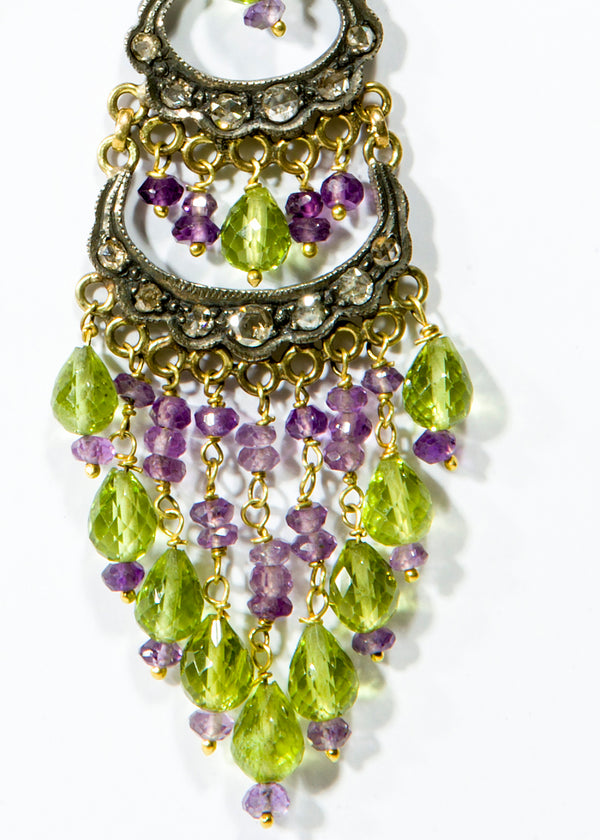 "Diamond (3.98 C) Peridot & Amethyst Earrings in 14K Gold & Silver (3.5"")-Earrings-Gretchen Ventura"
