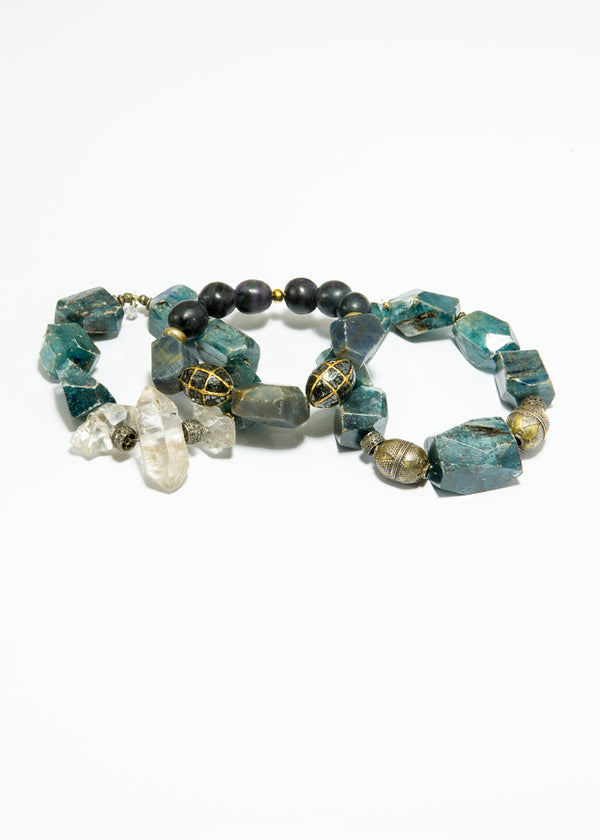 Kynite Nuggets w/ Diamond Wheels, Afghani Silver Beads and Herkimer Diamonds 6121-Bracelets-Gretchen Ventura