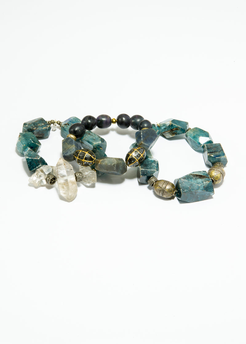 Kynite Nuggets w/ Diamond Wheels, Afghani Silver Beads and Herkimer Diamonds #6121-Bracelets-Gretchen Ventura