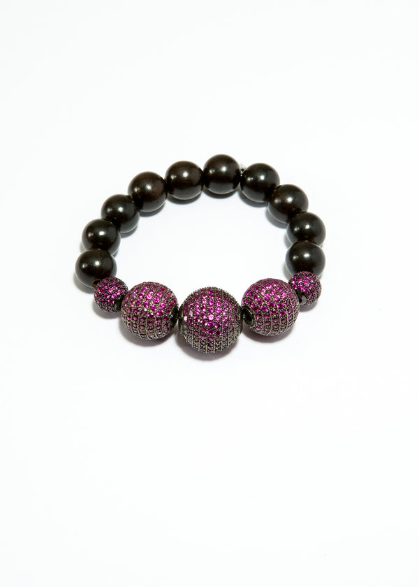 Black Wood Beads bracelet w/ Ruby CZ beads #6136-Bracelets-Gretchen Ventura