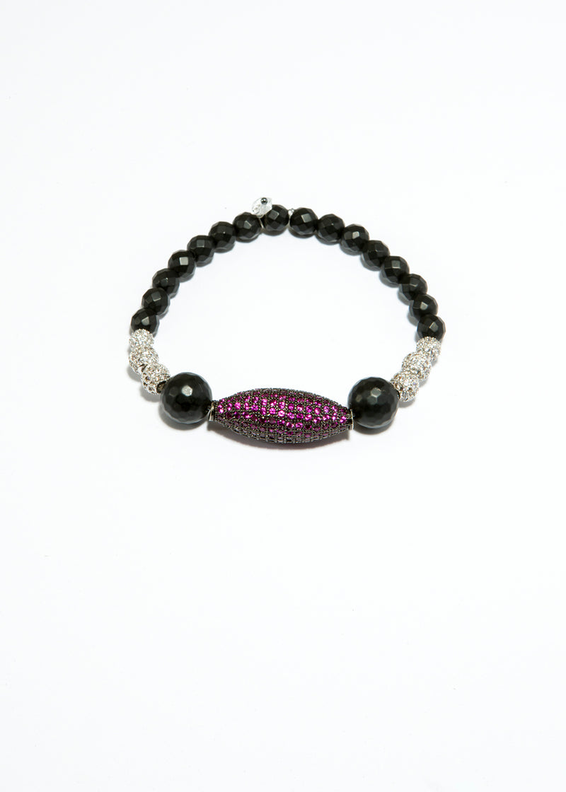Faceted Black Onyx Bracelet w/ Ruby CZ & CZ Beads #6134-Bracelets-Gretchen Ventura