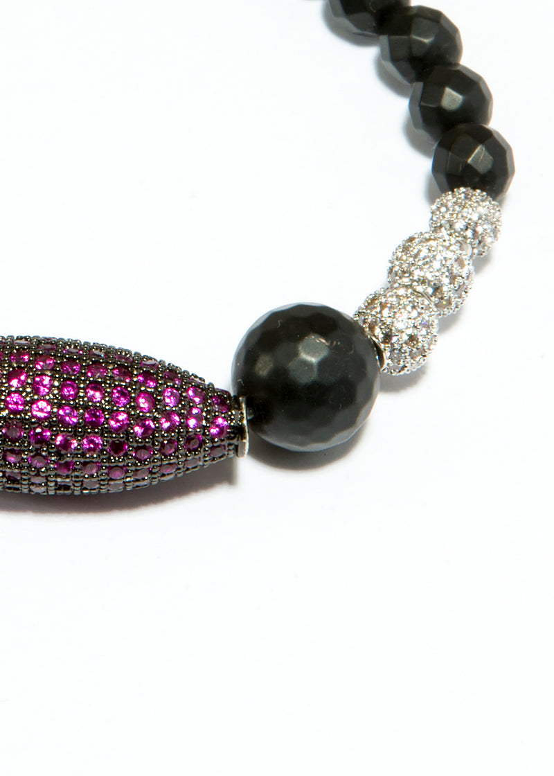 Faceted Black Onyx Bracelet w/ Ruby CZ & CZ Beads 6134-Bracelets-Gretchen Ventura