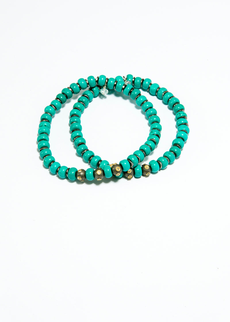 Matte Sterling w/ Single cut Diamond Beads & Turquoise Beads #6103-Bracelets-Gretchen Ventura