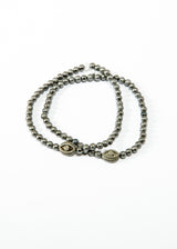 Blackened Bead Bracelet w/ Matte Sterling & Diamond Evil Eye #6130-Bracelets-Gretchen Ventura