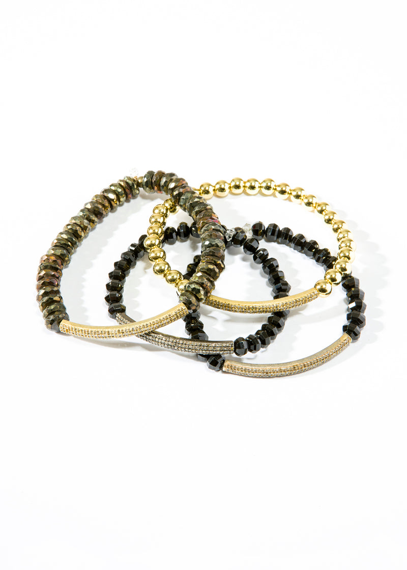Diamond Cut Black Spinel w/ Gold Plated over Sterling or Sterling Diamond Bar Bracelet 6102-Bracelets-Gretchen Ventura
