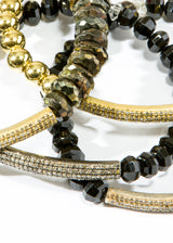 Hand Faceted Bronze Spinel & Gold Plated Diamond Bar Bracelet #6101-Bracelets-Gretchen Ventura