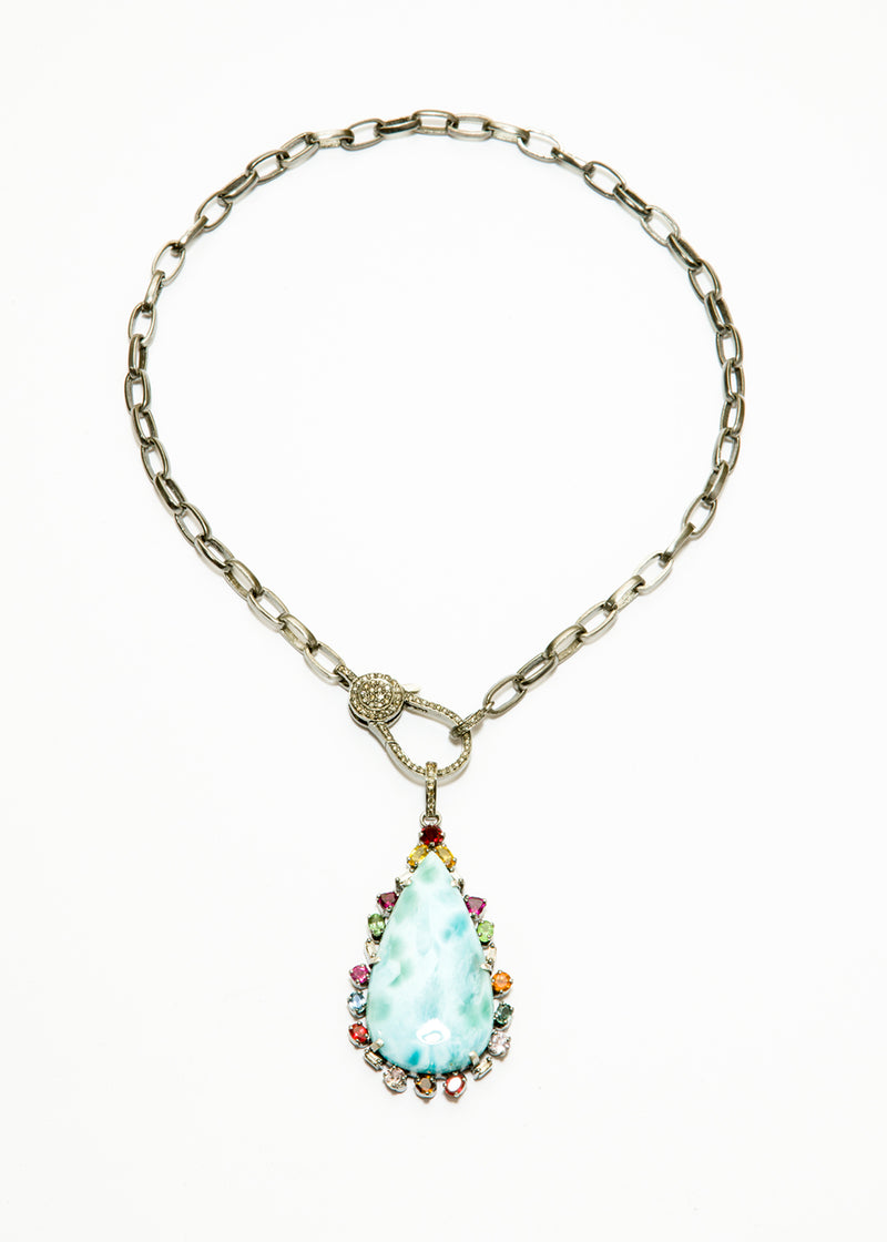 Larimer w/ Multicolor Sapphires on Blackened Sterling Chain w/ Diamond Clasp #9369-Necklaces-Gretchen Ventura