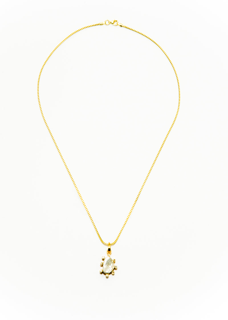 Rose Cut Diamond Daisy in Gold Plate on Gold Plate over Sterling Silver Chain #9385-Necklaces-Gretchen Ventura