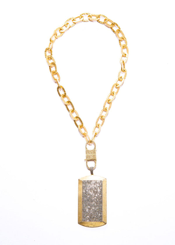 "Gold Plate Over Sterling & Diamond Pave Dog Tag w/ Gold Plate Hand Hammered Sterling Chain & Diamond Clasp (17""+4"")-Necklaces-Gretchen Ventura"