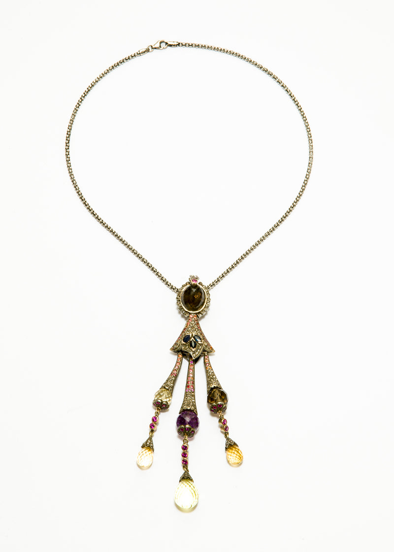 Diamond, Amethyst, Smokey Topaz, Sapphire, Yellow Topaz & 14K Gold & Sterling Silver #9365-Necklaces-Gretchen Ventura