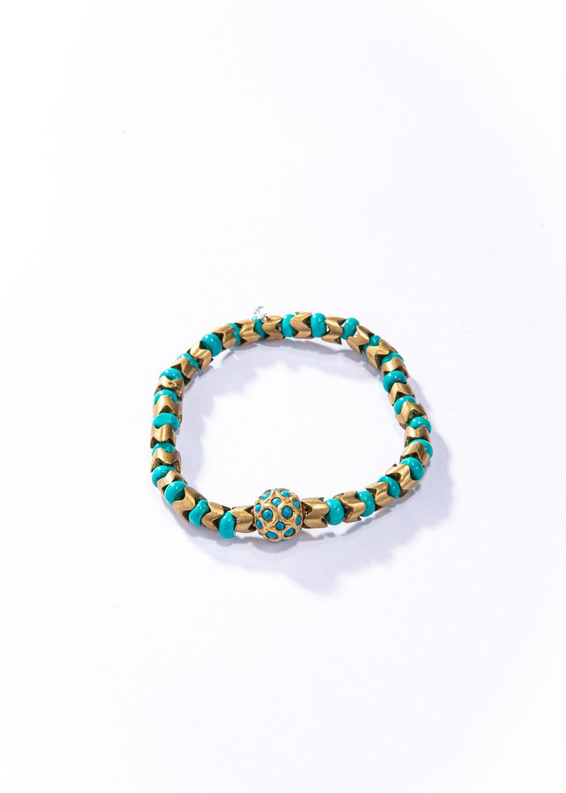 Turquoise and 14 K over Sterling & Turquoise Beads w/ Brass Snake Beads Bracelet-Mens Bracelet-Gretchen Ventura