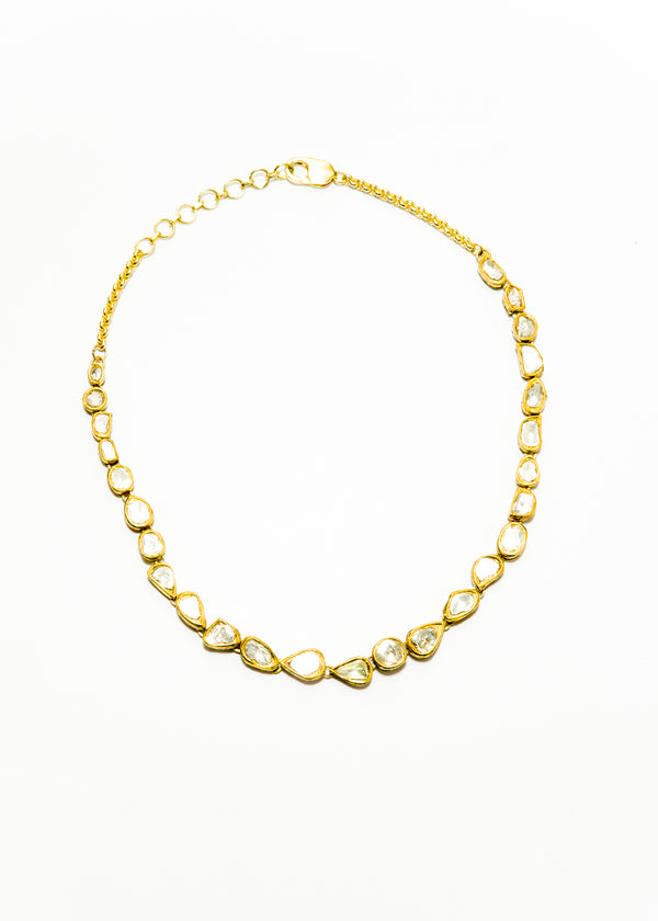 Rose Cut Diamonds (5.25C) in GP over SS W/ enamel back Choker #9381-Necklaces-Gretchen Ventura