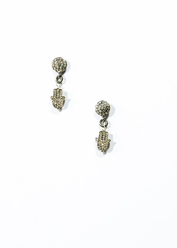 Diamond Stud w/ Diamond Humsa Earrings-Earrings-Gretchen Ventura