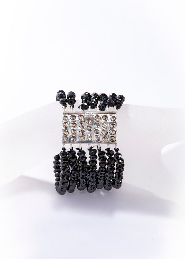 Sterling Silver Raw Diamond Clasp Multi Strand Diamond Cut Black Spinel Bracelet #2885-Bracelets-Gretchen Ventura