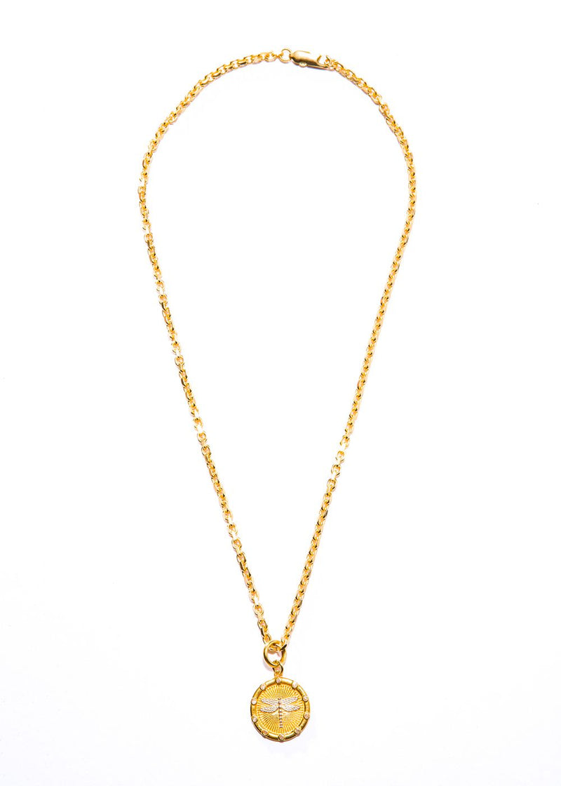 "Gold Vermeil Over Sterling & Diamond Dragonfly Pendant w/ Gold Vermeil Chain (18""+ 1"")-Necklace-Gretchen Ventura"